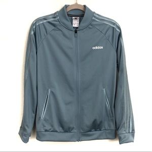 Adidas Full Zip Blue Track Bomber Jacket Athletic